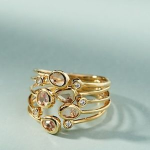 Anthropologie Lilou Ring: Gold and Pink stones